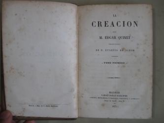 La Creacion, Edgar Quinet, 2 tomos, 1871